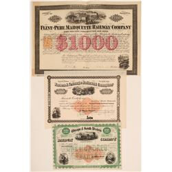 Three Different Railroad Stocks/Bonds with Imprinted Revenues  (106822)