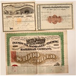 Three Railroad Stock Certificates with Imprinted Revenues  (107594)