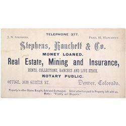 c.1890s Denver Business Card for Mining Agent  (63083)