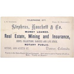c.1890s Denver Business Card for Mining Agent  (63083)