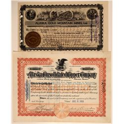 Two Different Alaska Mining Stock Certificates  (106723)