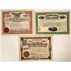 Three Different Cochise County, Arizona Mining Stocks  (107498)