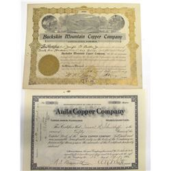 Two Coconino County Mining Stock Certificates  (66008)