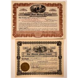 Two Different Copper Creek, Arizona Mining Stock Certificates  (107475)
