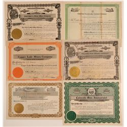 Crown King District Mining Stock Certificates (6)  (106802)