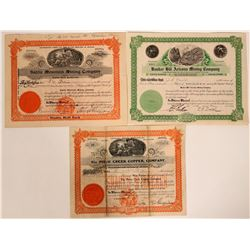 Three Different Florence, Arizona Mining Stock Certificates  (107476)