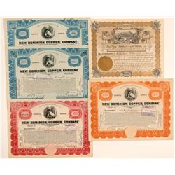New Dominion Copper Mining Stock Certificate Collection  (106813)