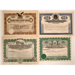 Four Different Jerome, Arizona Mining Stock Certificates  (107588)