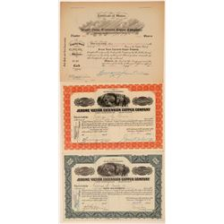 Jerome Victor Extension Copper Co. Stock Certificate Trio  (106814)