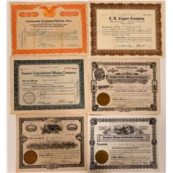 Six Different Kingman, Arizona Mining Stock Certificates  (107474)