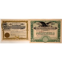 Two Different Parker, Arizona Mining Stock Certificates  (107471)