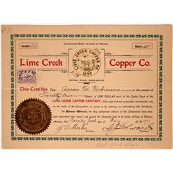 Lime Creek Copper Company Stock Certificate  (107559)