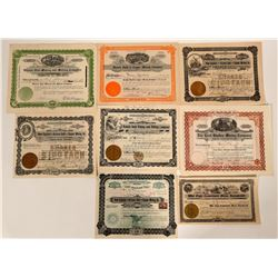 Eight Different Prescott, Arizona Mining Stock Certificates  (107555)