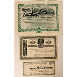 Three Different Tombstone, Arizona Mining Stock Certificates  (107595)