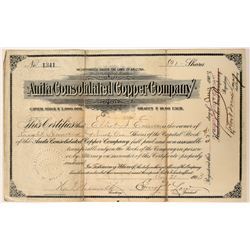 Anita Consolidated Copper Company Stock Certificate  (107499)