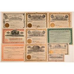 10 Different Yavapai County Mining Stock Certificates  (106716)