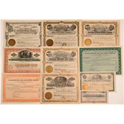 10 Different Yavapai County Mining Stock Certificates  (106716)