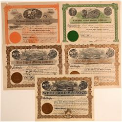 Five Different Yavapai County Mining Stock Certificates  (106734)