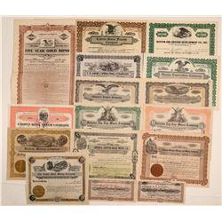Yavapai County, Arizona Mining Stock Certificate Group (15)  (106797)