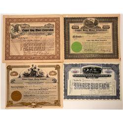 Four Arizona Copper Mining Stock Certificates  (107458)