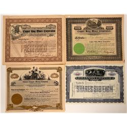Four Arizona Copper Mining Stock Certificates  (107458)