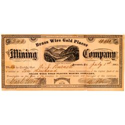 Brass Wire Gold Placer Mining Co. Stock Certificate  (100749)