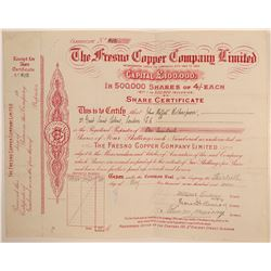Fresno Copper Company, Ltd., Stock Certificate  (106668)