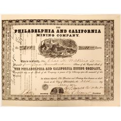 Philadelphia and California Mining Company Stock with John C. Fremont as President  (119424)