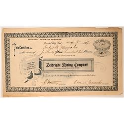 Zeibright Mining Company Stock Signed by Fred Searls  (107607)