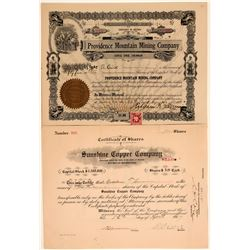 Two Different San Bernardino County Mining Stock Certificates  (106704)