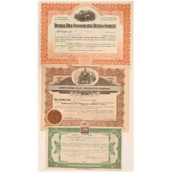 San Diego County Mining Stock Certificates (3)  (105801)