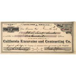 Unique California Dredging Stock Certificate: California Excavator and Contracting Co