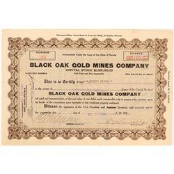 Black Oak Gold Mines Co. Stock Certificate, Tuolumne County, Cal. 1924  (111654)