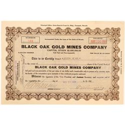 Black Oak Gold Mines Co. Stock Certificate, Tuolumne County, Cal. 1924  (111654)