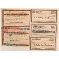 Colusa and Yuba County Mining Stock Certificates (5)  (105897)