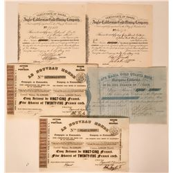 Gold Rush Group of Five Stock Certificates  (118050)