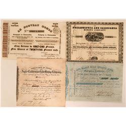 Four California Gold Rush Mining Stock Certificates  (118052)