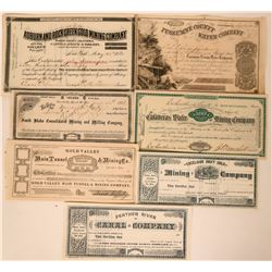 Seven Different Mother Lode Stock Certificates  (118047)