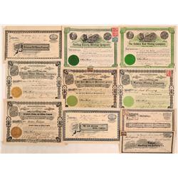 Ten 1899-1904 California Mining Stocks  (105885)