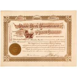 Cripple Creek Consolidated Mining Company Stock Certificate, 1905  (58579)