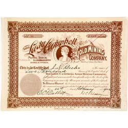 Lady Campbell Gold Mining Co. Stock Certificate, Cripple Creek, CO, 1902  (58413)