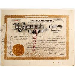 Anaconda Gold Mining Company, Cripple Creek, Colorado (signed by Moffat)  (79346)