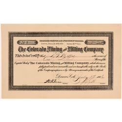 Colorado Mining and Milling Company Stock - Number 2 to D. H. Moffat  (105858)