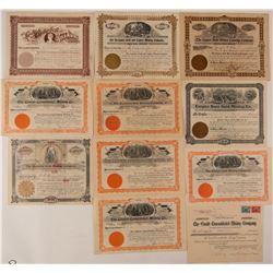 Eleven Cripple Creek Mining Stock Certificates  (107696)