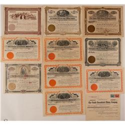 Eleven Cripple Creek Mining Stock Certificates  (107696)