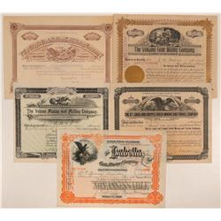 Five 1890s Cripple Creek Mining Stock Certificates  (107697)