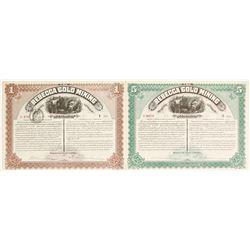 Two Rebecca Gold Mining Company Stock Certificates  (62808)