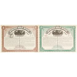 Two Rebecca Gold Mining Company Stock Certificates  (62808)