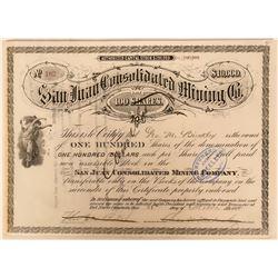 San Juan Consolidated Mining Co. Colorado Stock Certificate  (117378)