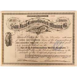 San Juan Consolidated Mining Co. Colorado Stock Certificate  (117378)